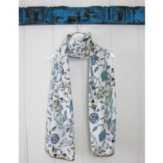 Cotton Scarf - Blue & White Floral