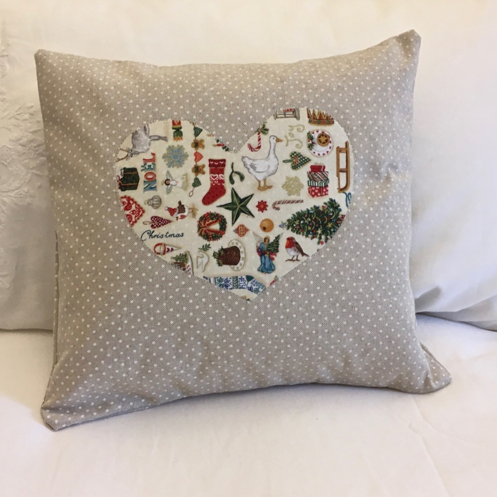 Christmas Heart Cushion - Front View