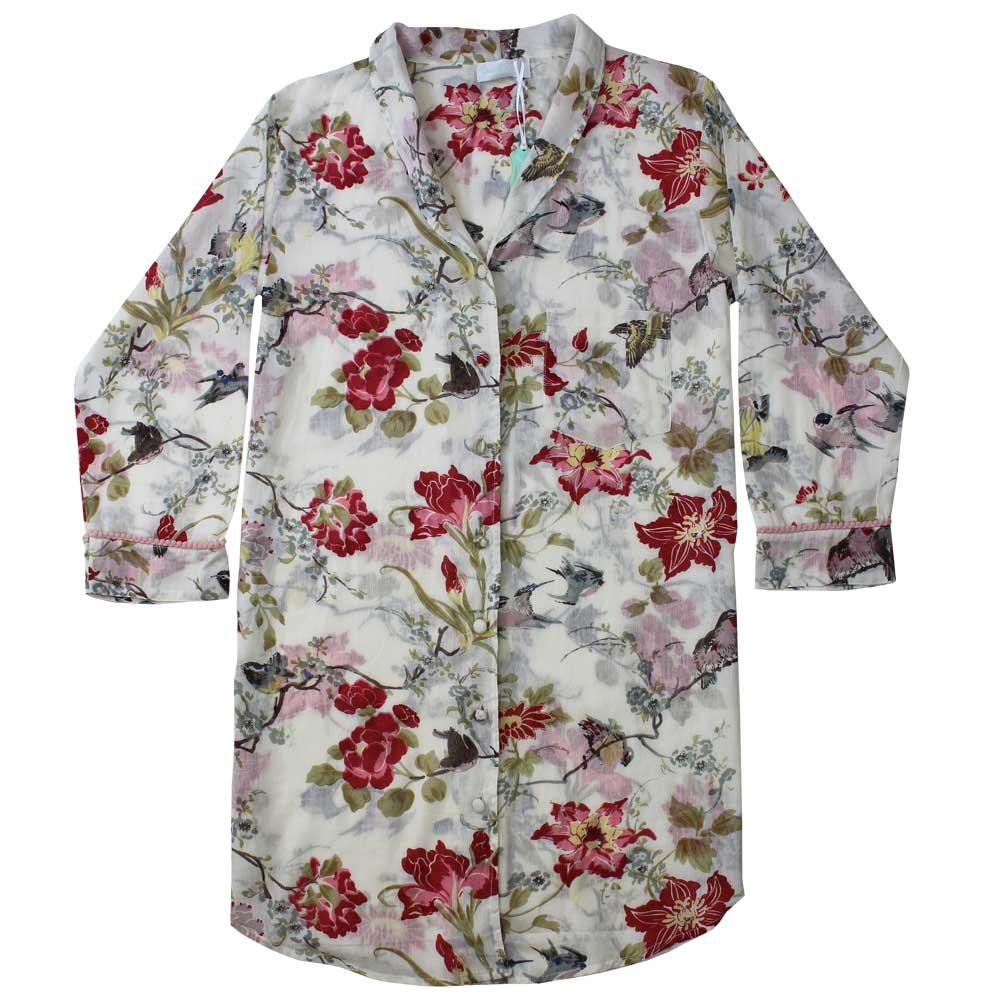 Long Sleeved Cotton Nightshirt -  Rose
