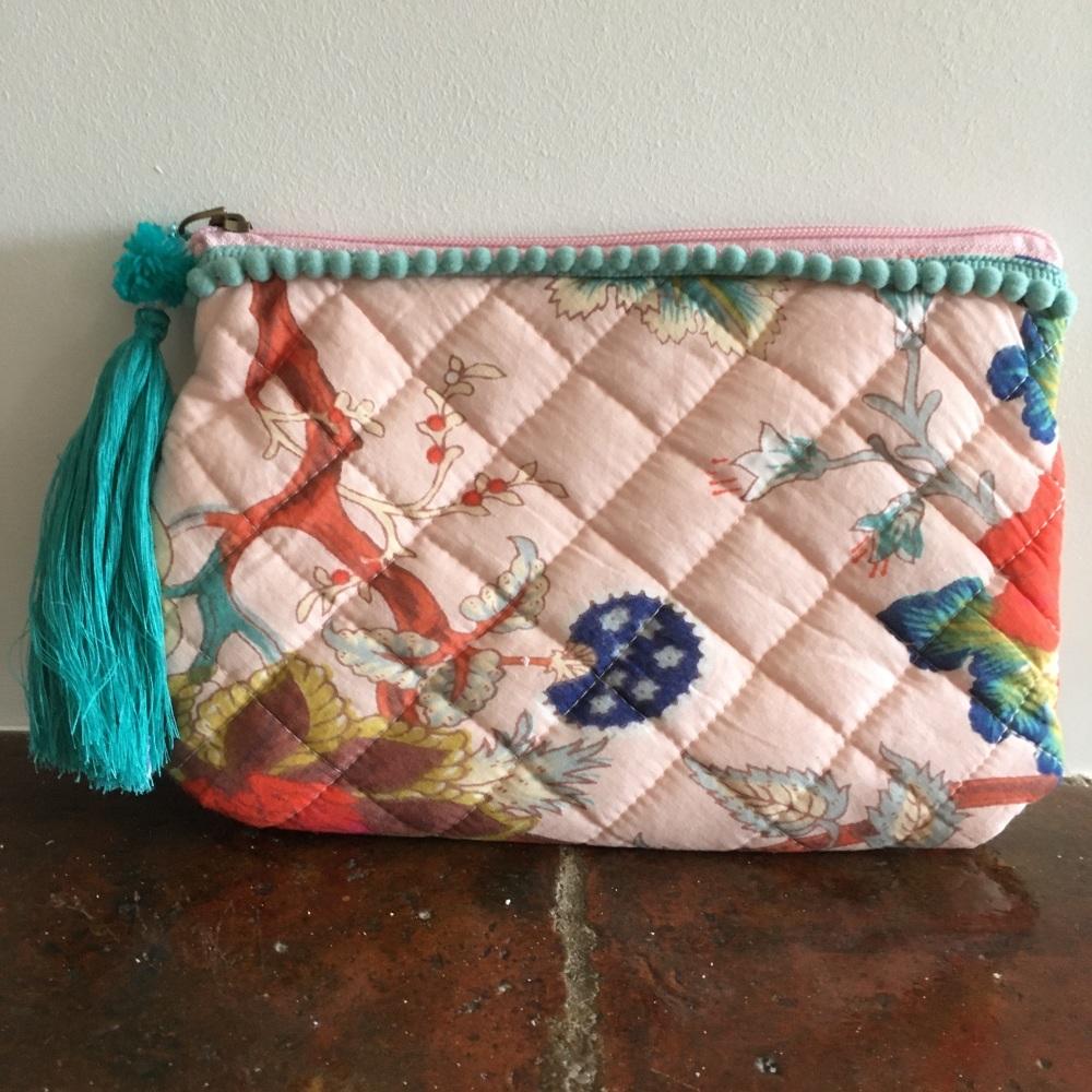 Pink Floral Make Up Bag