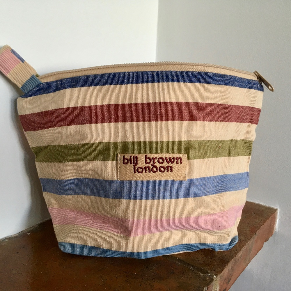 Multi Colour Striped Wash Bag