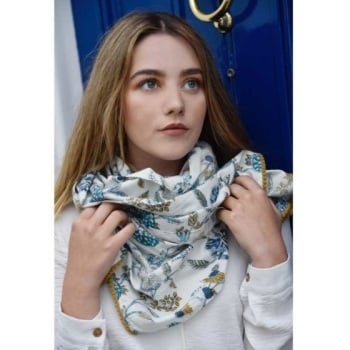 Cotton Scarf - Blue & White Floral