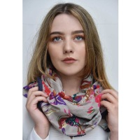 Cotton Scarf - Grey Floral