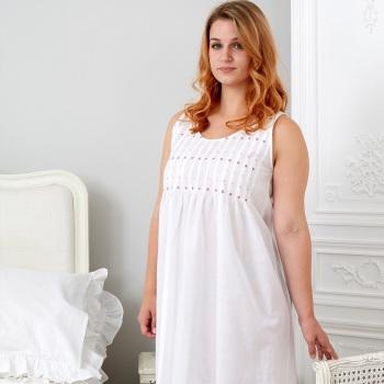 Sleeveless cotton nightdress - Pink Lizzie