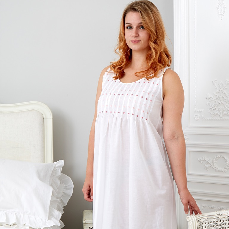 Sleeveless cotton nightdress - Pink Lizzie