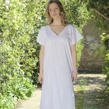 Short Sleeved Cotton Nightdress - V Neck