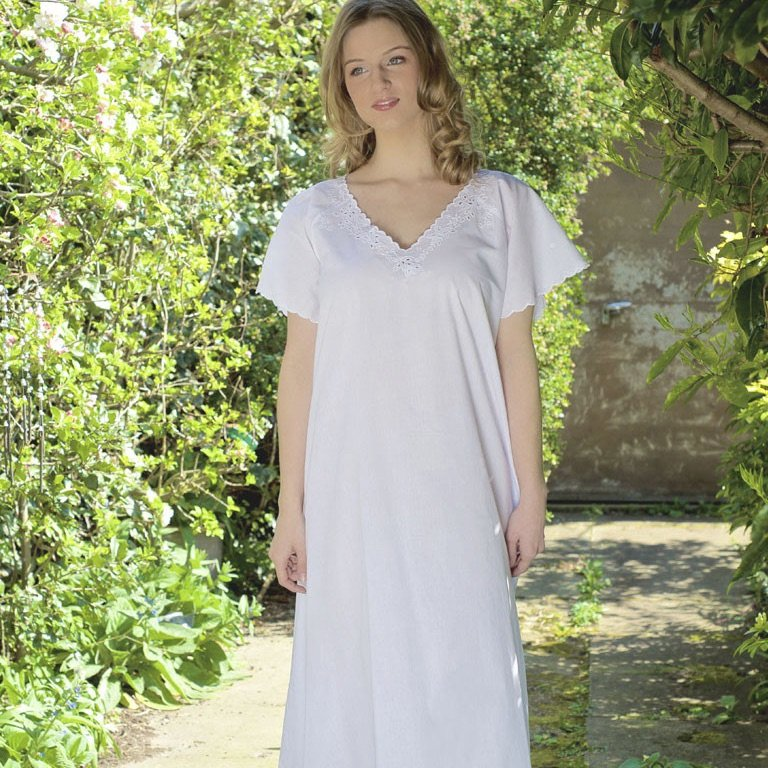 Short Sleeved Cotton Nightdress - V Neck