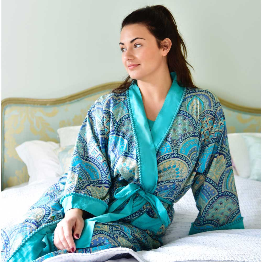 Blue Paisley Cotton Dressing Gown