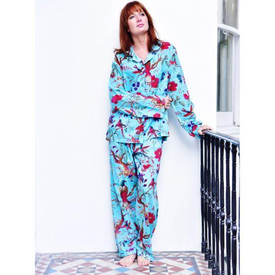 Cotton Pyjamas - Turquoise Bird
