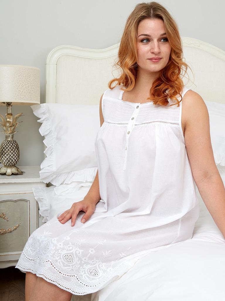 Sleeveless Cotton Nightdress - Rosemary