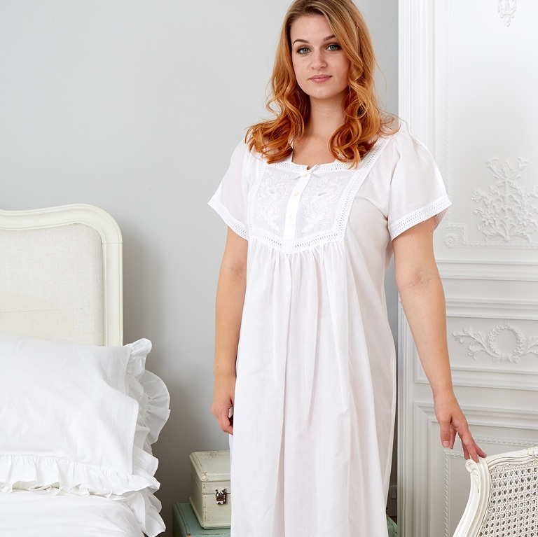 Short Sleeved Cotton Nightdress - Front Panel