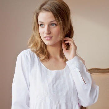Long Sleeved Cotton Nightdress - Lizzie