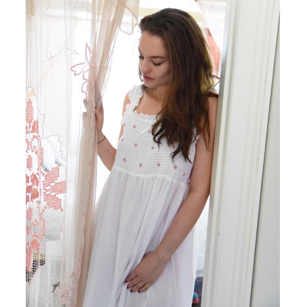 Sleeveless Cotton Nightdress - Ava