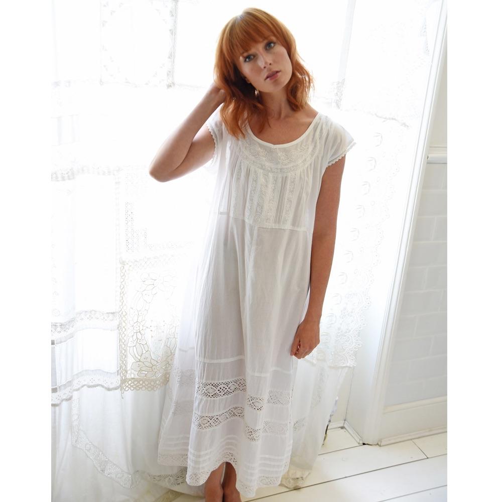 Short Sleeved Cotton Nightdress - Katherine
