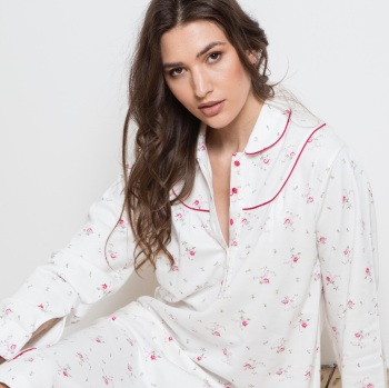 Long Sleeved Cotton Nightdress - Ditsy Bouquet