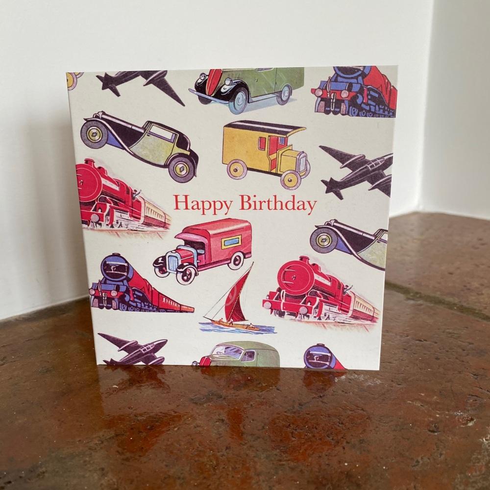 Birthday Card - Vintage Transport