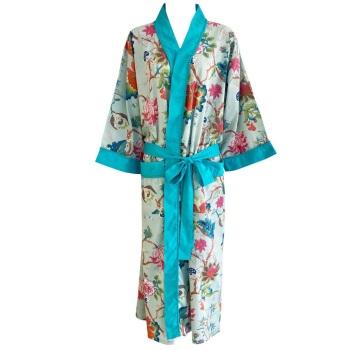 Cotton Dressing Gown  - Blue Floral