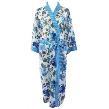 Cotton Dressing Gown - Blue Rose