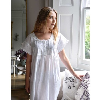 Short Sleeved Cotton Nightdress - Serena