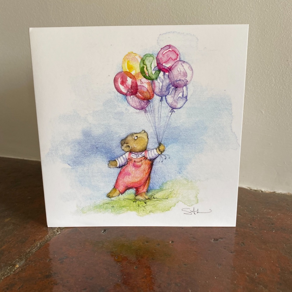 Greetings Card - Bear with Balloons