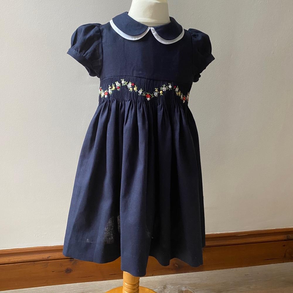 Girl's Dress - Navy Linen