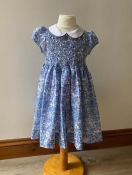 Girl's Dress - Blue Smocked