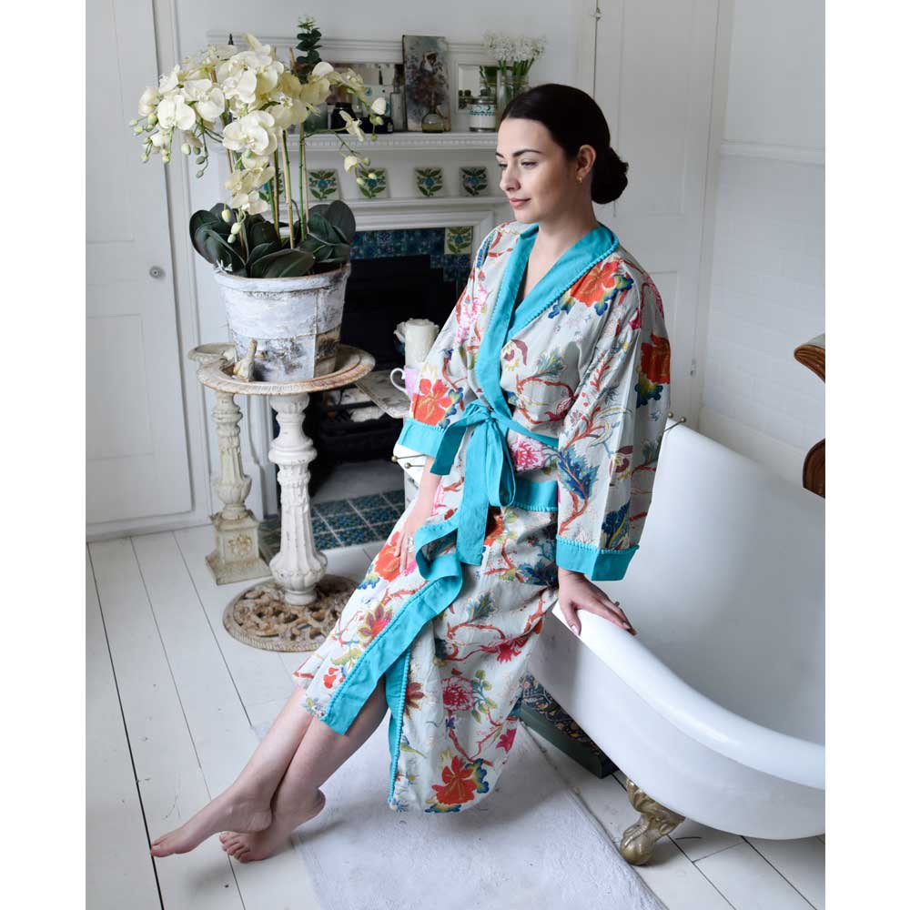 Cotton Dressing Gown  - Blue Floral