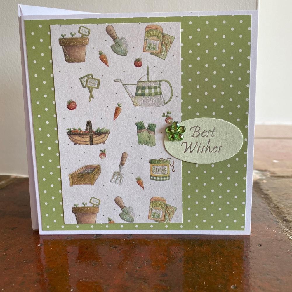 Handmade Card - Best Wishes Gardening