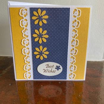 Handmade Card - Best Wishes Navy & Yellow Design