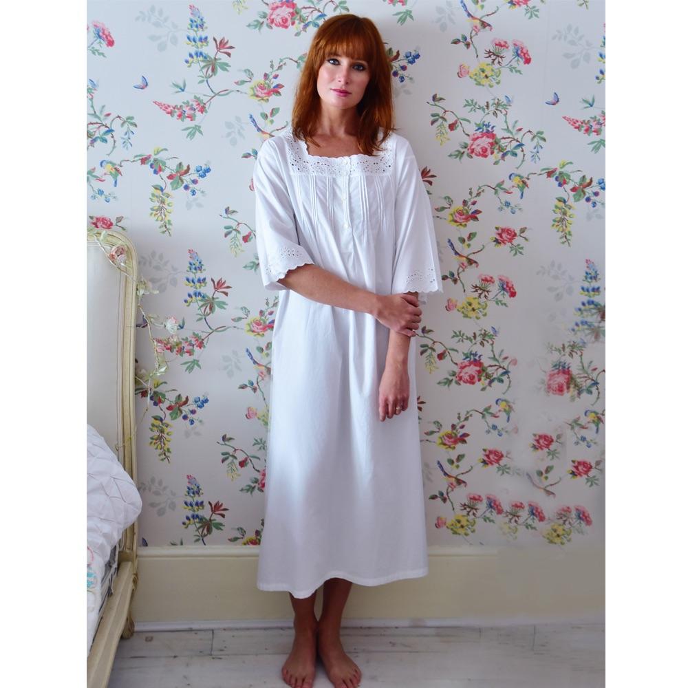 Long Sleeved Cotton Nightdress - Ruth