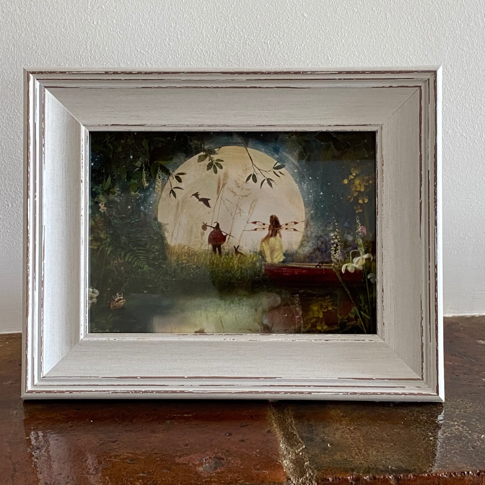 Framed Fairy Picture - Fairytale in White Rustic Frame