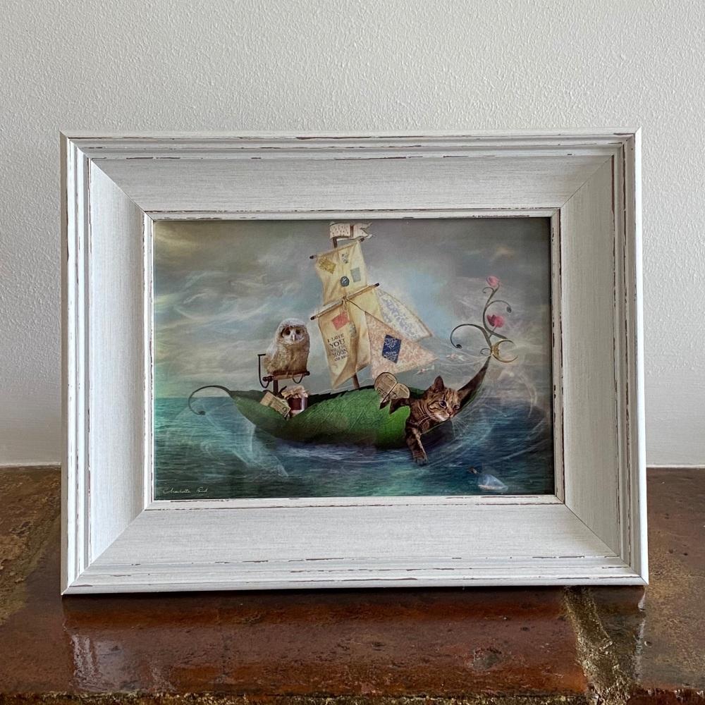 Framed Fairy Print - Owl & Pussycat in White Rustic Frame