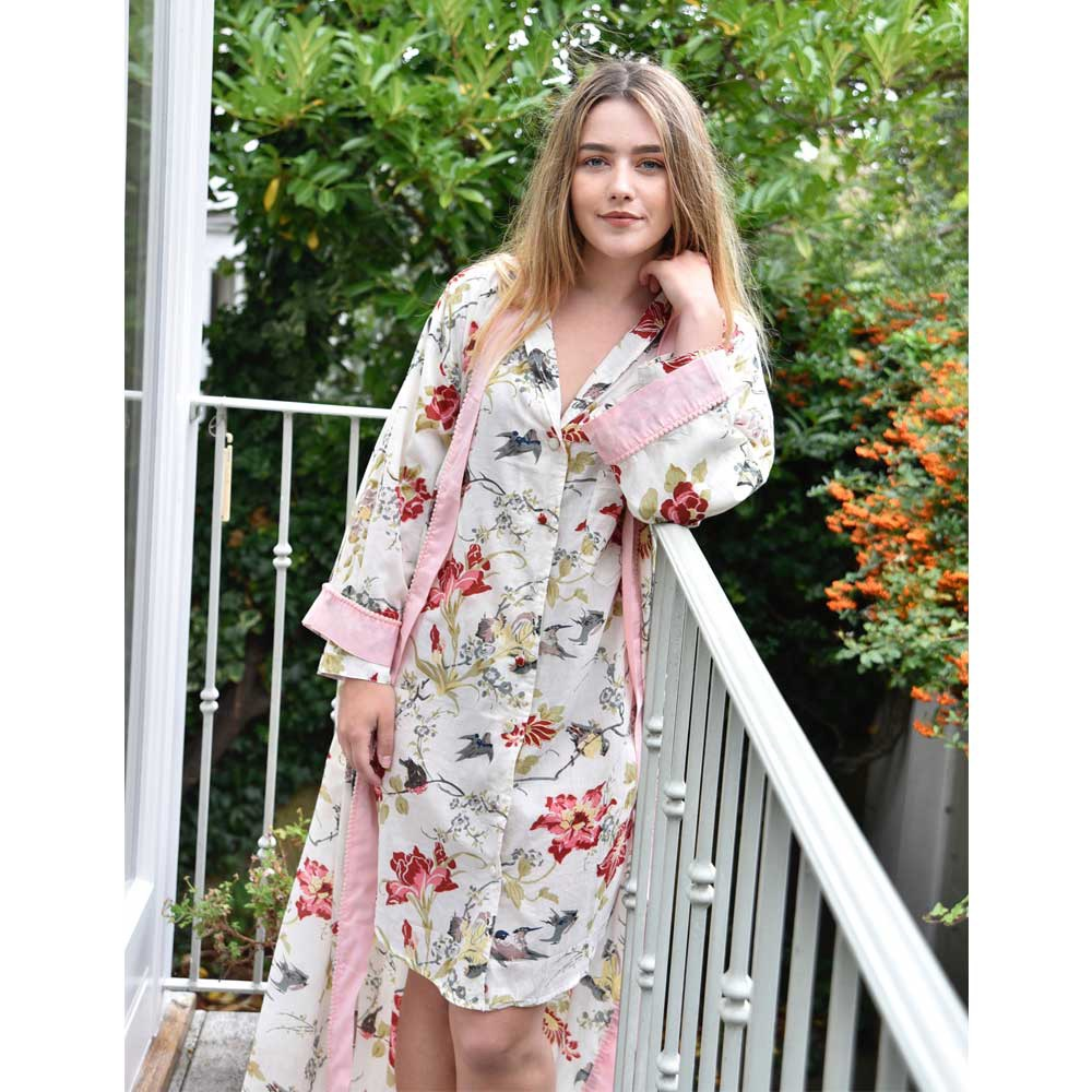 Long Sleeved Cotton Nightshirt -  Rose with Matching Dressing Gown