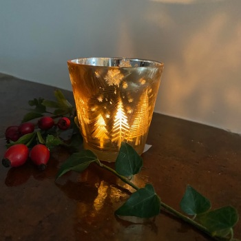 Frosted Gold Tealight Holder Pairs