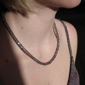 Skinny Mesh Necklace with Swarovski  Crystals