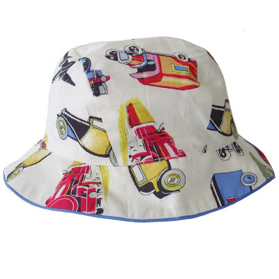 Cotton Sunhat with Vintage Transport Design