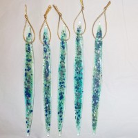 Individual Fused Glass Icicles - Green