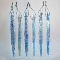 Individual Fused Glass Icicles - Blue and White
