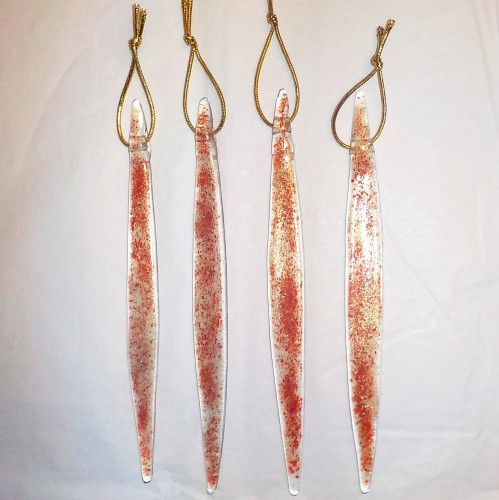 Individual Fused Glass Icicles - Red and Gold