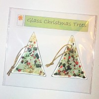Pair of Fused Glass Christmas Trees - Green and Red with Gold
