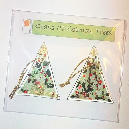 Pair of Fused Glass Christmas Trees - Green, red and gold