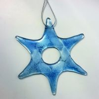 Individual Fused Glass Hanging Stars - Blue