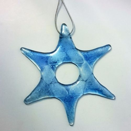 Individual Fused Glass Hanging Star - Blue