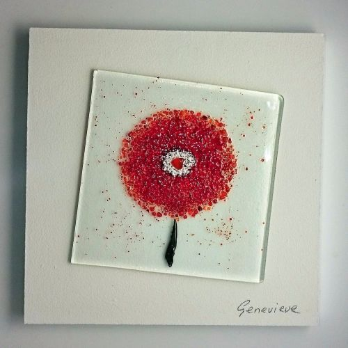 Fused Glass Flower - Red/Orange