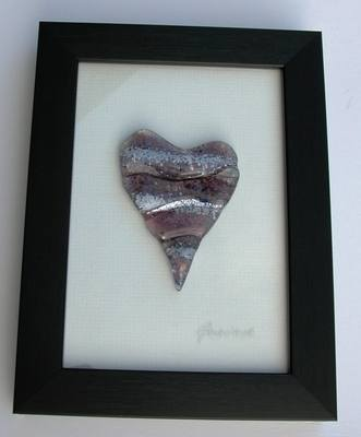 Purple Wave Heart of Glass Framed Picture (Small - Dark Frame)