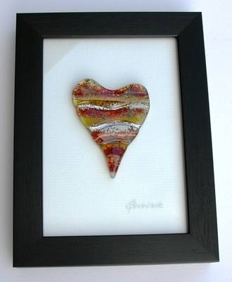 Red Wave Heart of Glass Framed Picture (Small - Dark Frame)