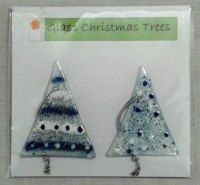 Pair of Fused Glass Christmas Trees - Blue and White with Silver