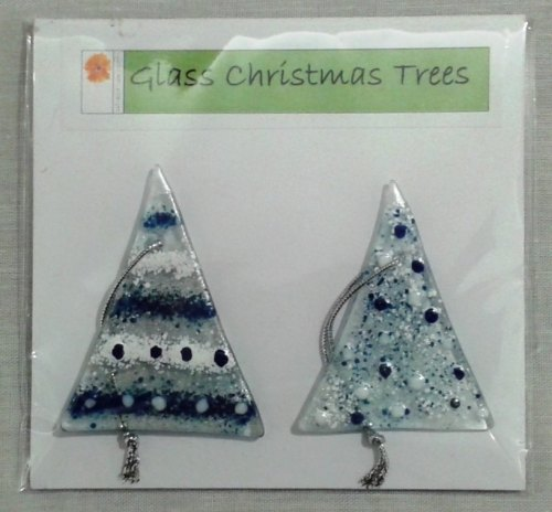 pair of fused glass christmas trees blue and white with silver