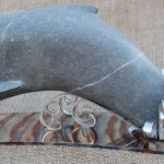 Leaping Dolphin Irish Blue Limestone Stainless Steel