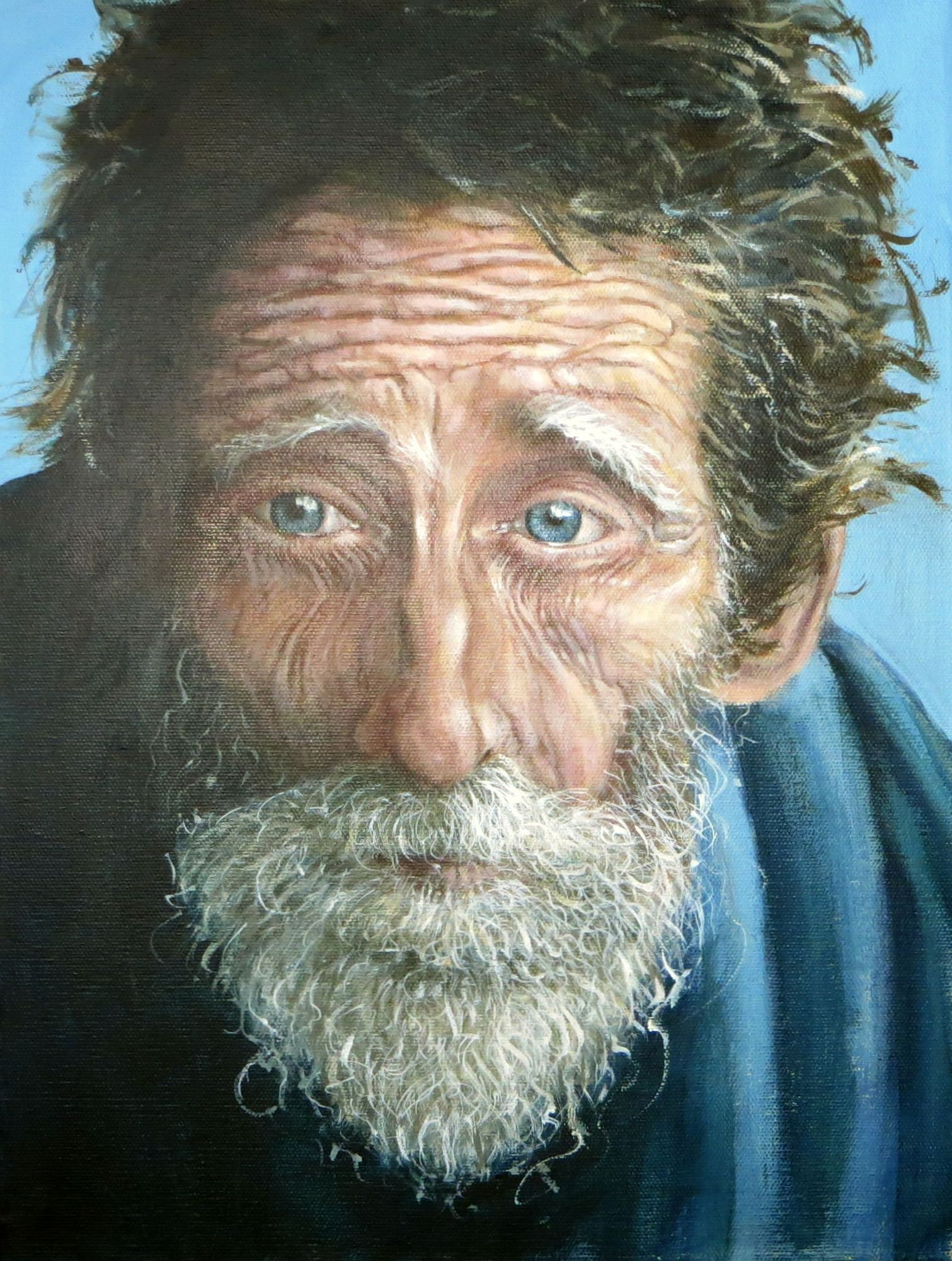 old man of the sea painting, portrait painting